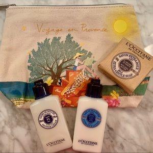L'occitane NEW Canvas pouch w/ travel essentials